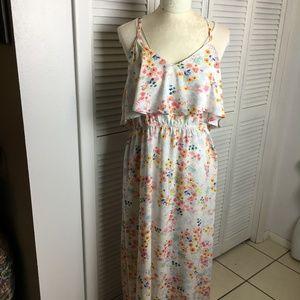 Lauren Conrad Maxi dress spagh strap floral sz L